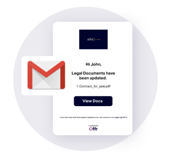 email notifications are sent to interested buyers when legal documents have been uploaded and updated