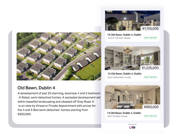 A mobile and desktop view of Offr's new homes product, showing a collection of properties in a development.